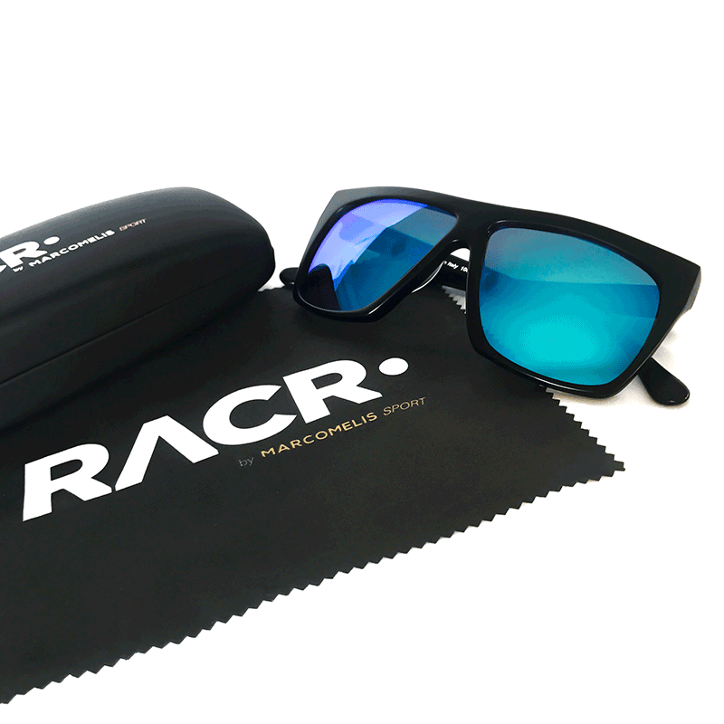 RACR Sunglasses Blacksand with blue lenses